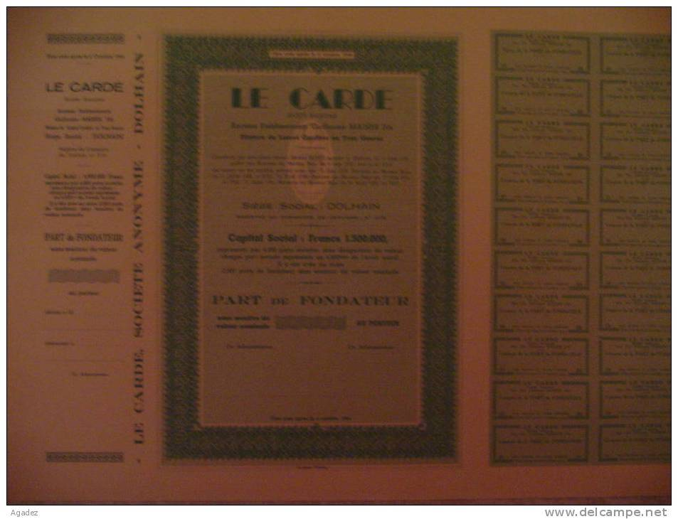Part De Fondateur  Le Cardé  Dolhain ( Verviers) Belgium 1951 Textile. - Textile