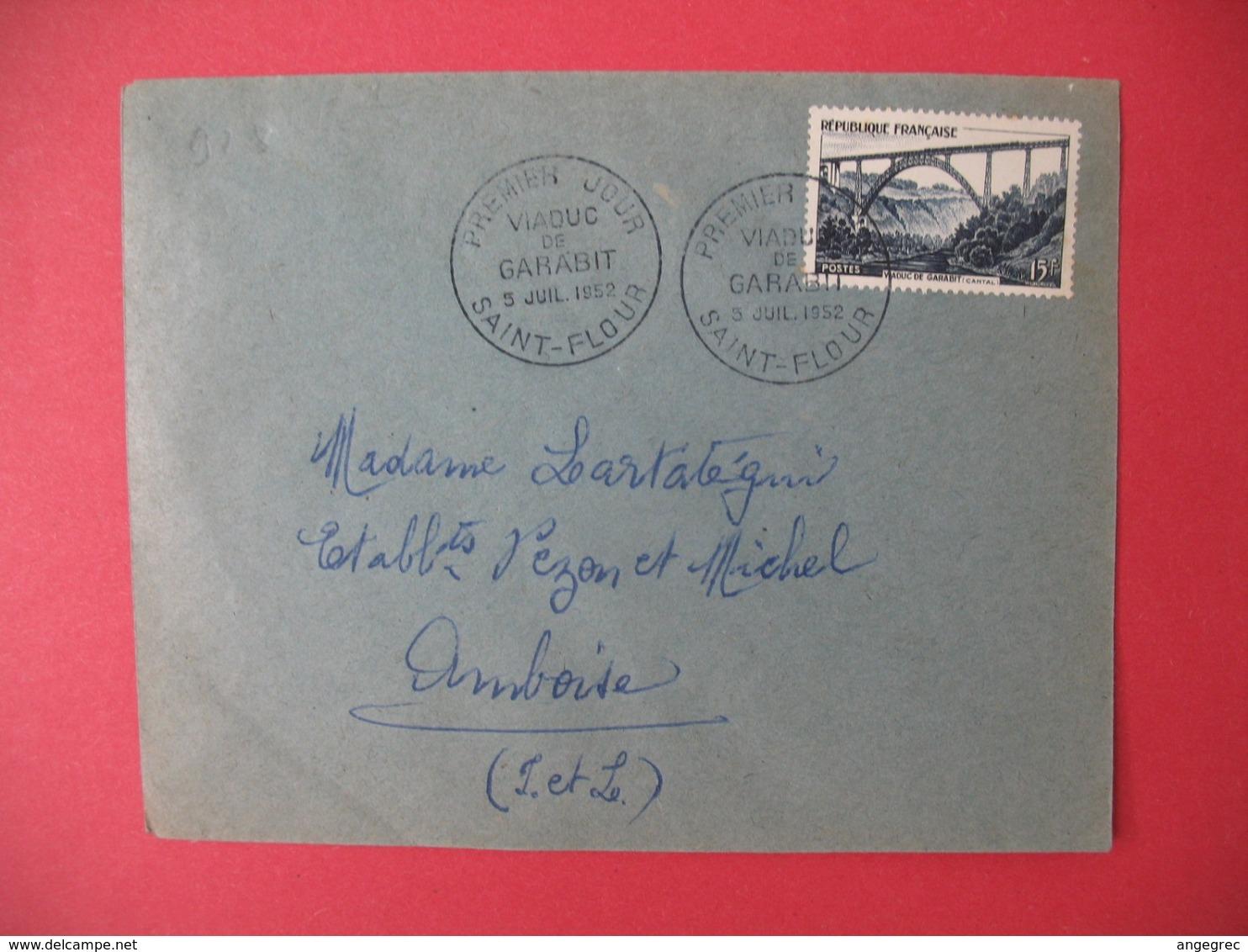 FDC France 1952 N° 928  - Viaduc De Garabit  Cachet St-Flour - 1950-1959