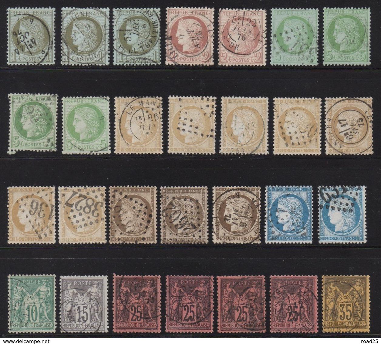 Collection De 85 Timbres Classiques Napoléon Cérès Sage , Nuances Et Variétés Diverses, 2 Certificats Numériques Calves - France