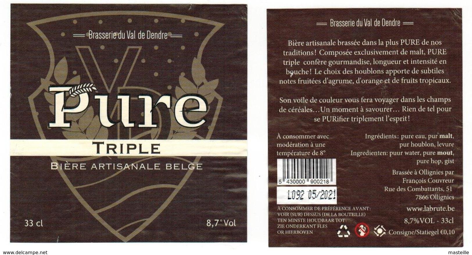 Etiquette Bière Pure Triple 33 Cl Brasserie Du Val De Dendre, Ollignies Bier Etiket Beer New Label Front + Back - Bière