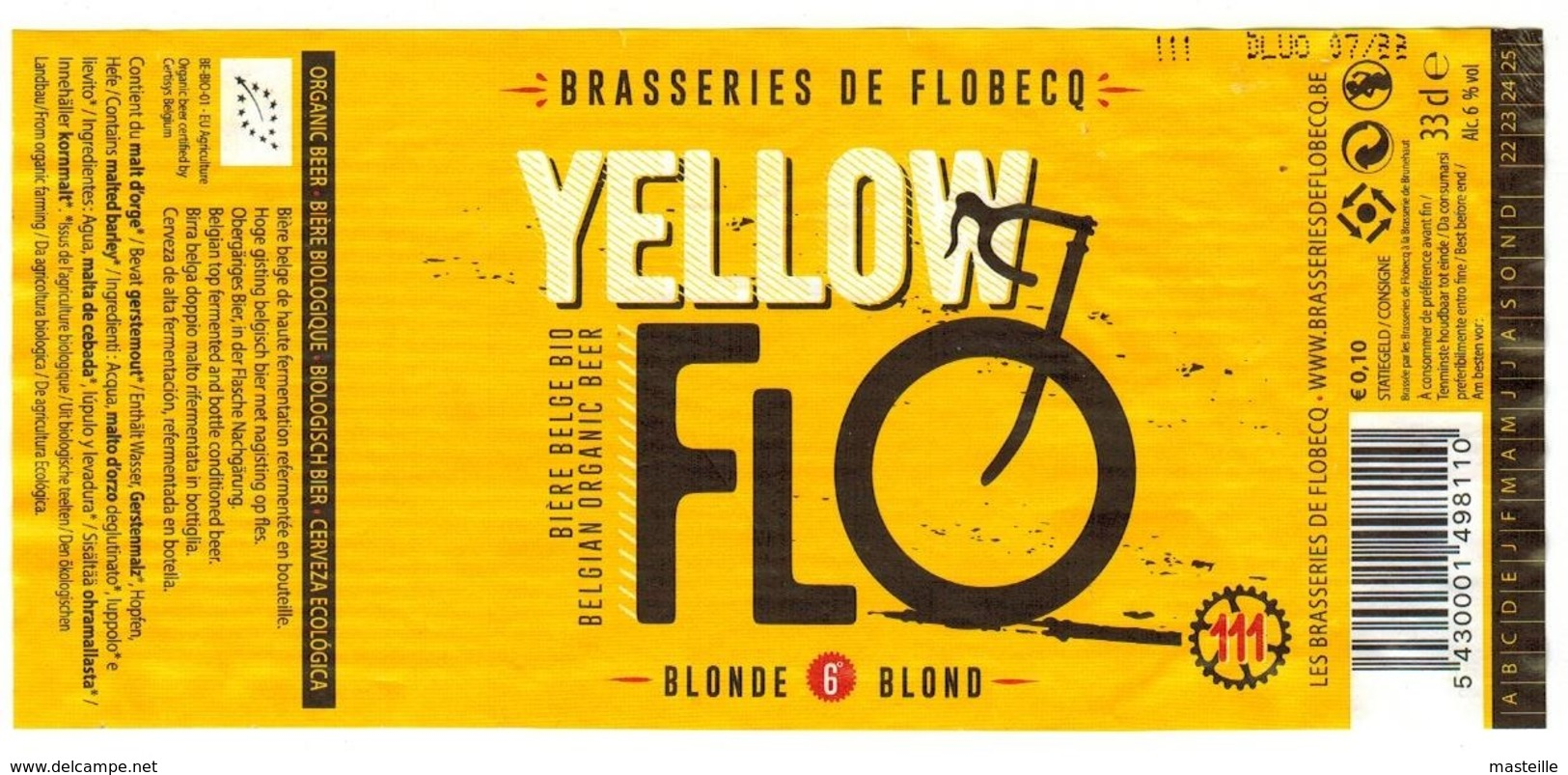 Etiquette Bière Yellow Flo 33 Cl, Brasseries De Flobecq Bier Etiket Beer Label - Bière