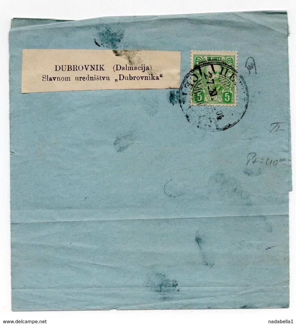 1904 MONTENEGRO, CETINJE TO DUBROVNIK, DALMATIA, NEWSPAPER WRAPPER - Montenegro