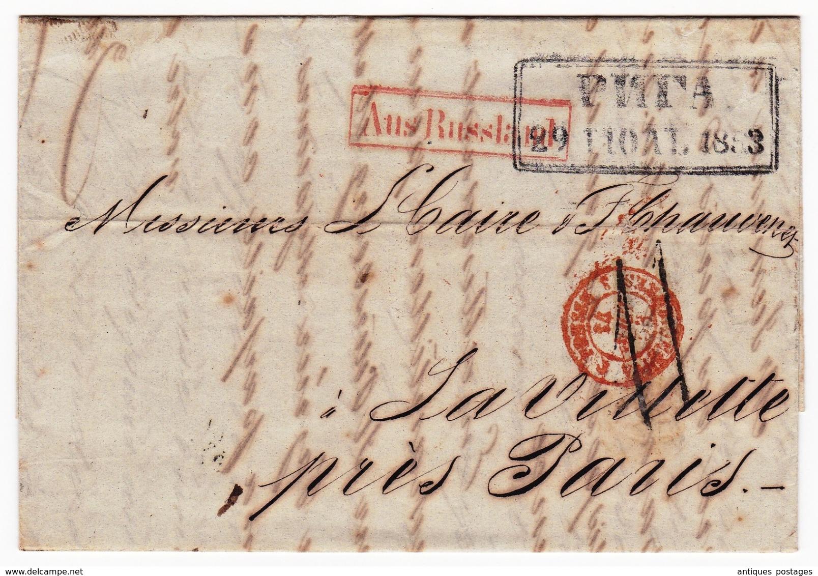 Riga 1853 Lettonie Julius Sturtz AUS RUSSLAND PRUSSE 3 VALENCIENNES 3 Papier Peint Latvija Латвия La Villette - Letland
