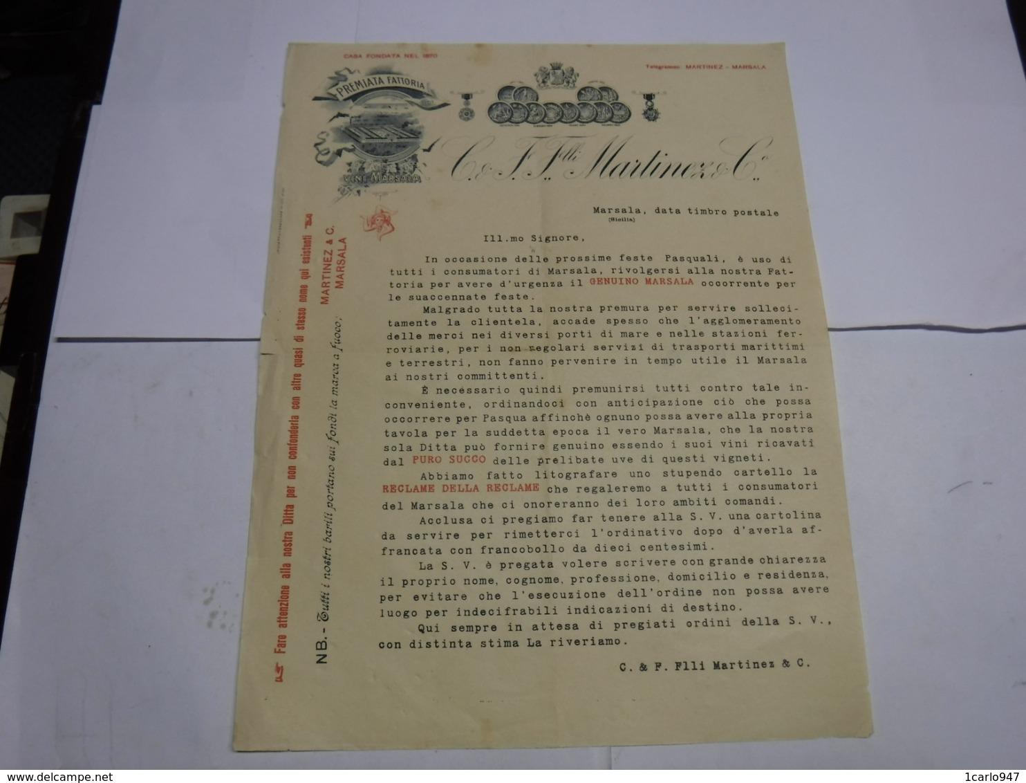 MARSALA  --TRAPANI    --  DISTILLERIA  ALCOOL  -- LIQUORI  - VINI --  C.& F. FRATELLI MARTINEZ  &CO. - Italy