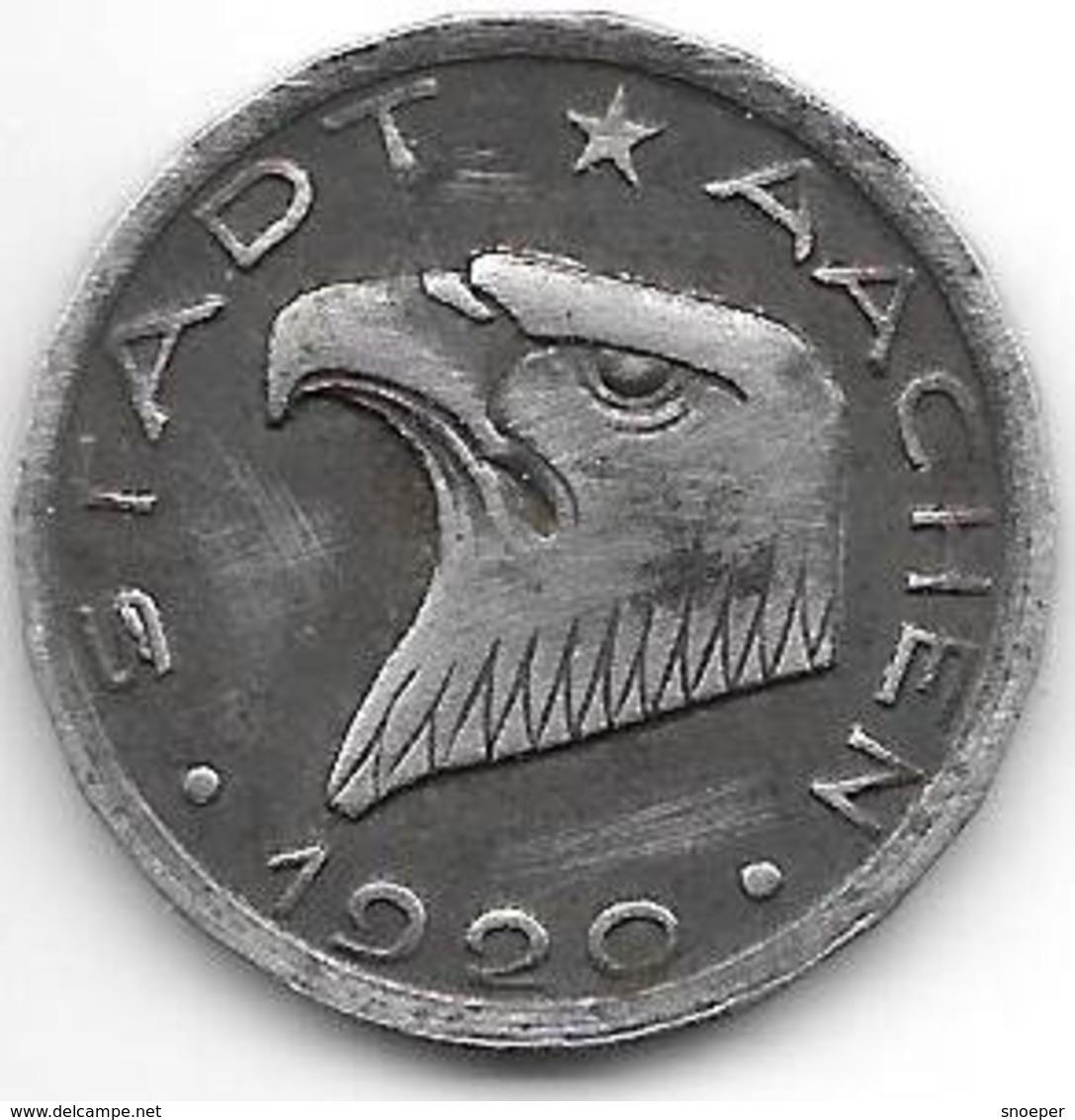 Notgeld  Aachen  50 Pfennig 1920   Fe  54.35/ F1.11A/d  K Gleich Lang 1(920)  Anstrich 1,5 Mm - [ 2] 1871-1918 : Empire Allemand