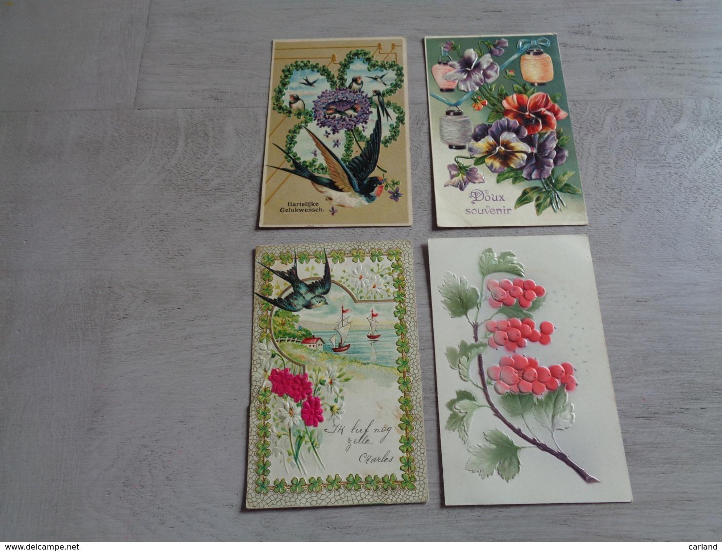 Beau Lot De 60 Cartes Postales De Fantaisie Gaufrées  Gaufrée       Mooi Lot Van 60 Postkaarten Van Fantasie Reliëf - Cartes Postales