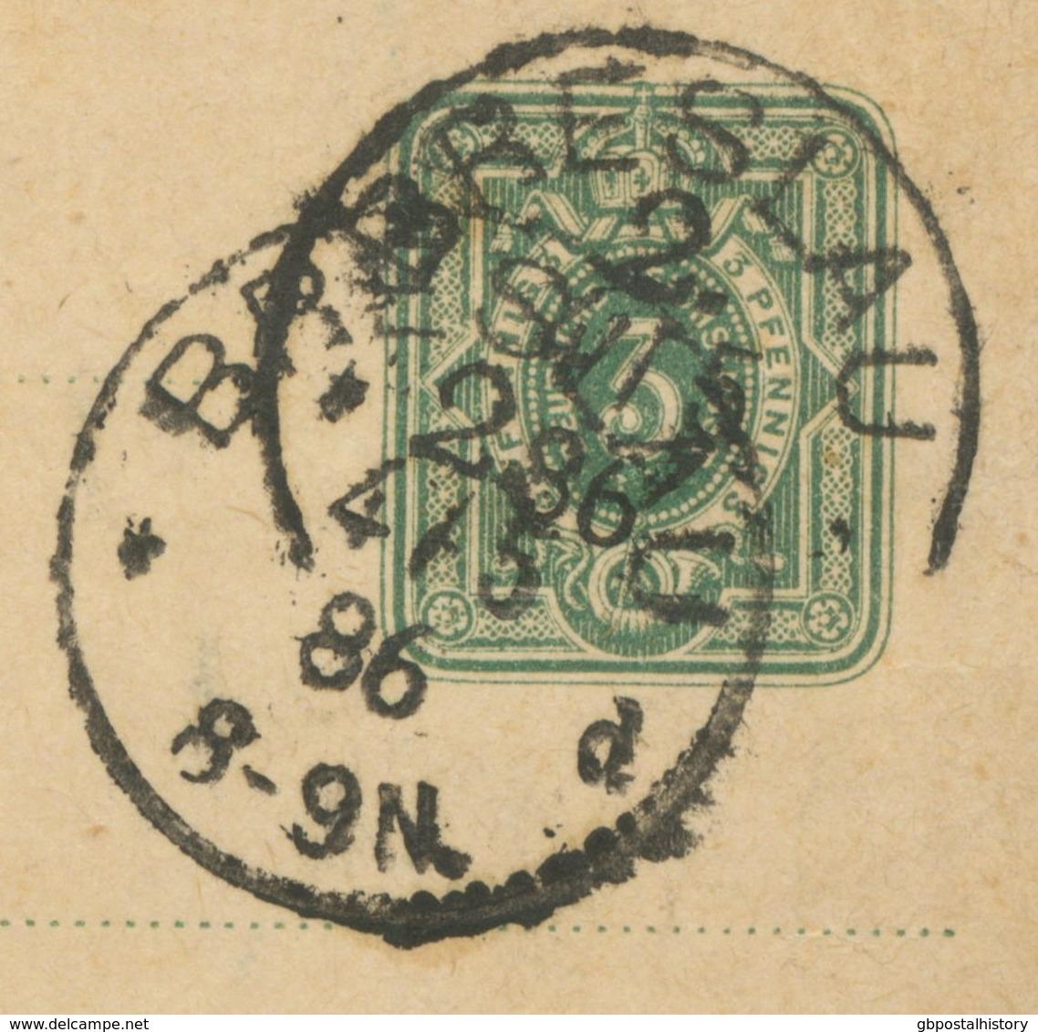 """DEUTSCHES REICH """"BRESLAU"""" (jetzt WROCLAW, Polen) K1 Auf Pra.-GA-Streifband-Vorderseite 3 Pfennig Nach KATZENAU, 1886 - Covers & Documents"""