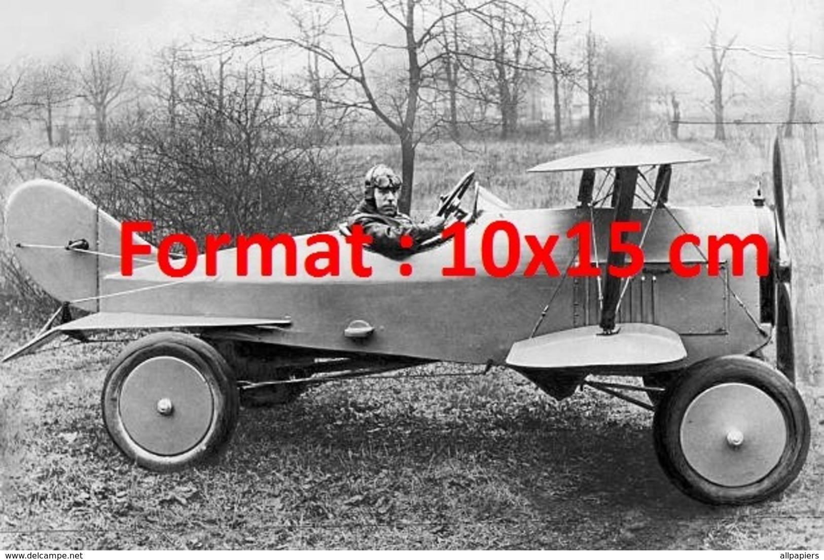 Reproduction D'une Photographie Ancienne D'un Avion Combiné Avec 4 Roues En 1924 - Repro's