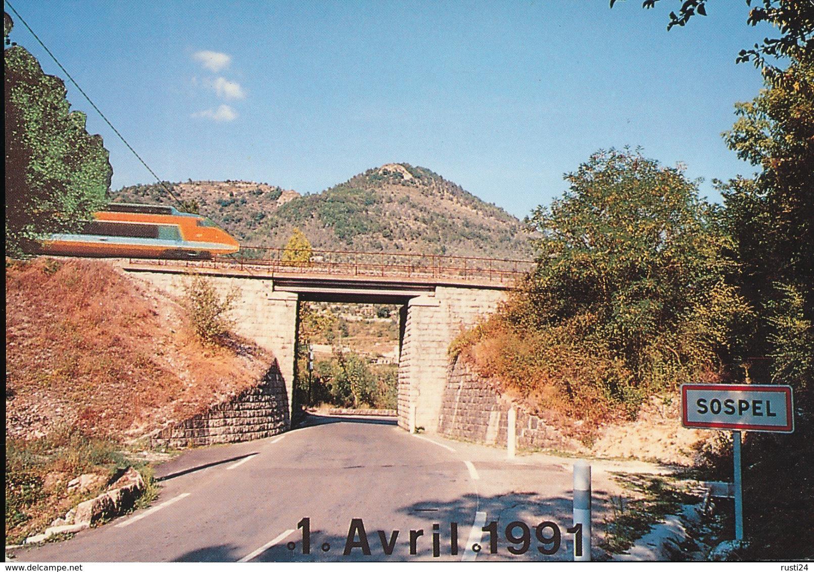 Sospel -- ( 06 ) Tres Grand Viaduc Devant Le Mont Agaisin -- 1 Avril 1991 - Treni