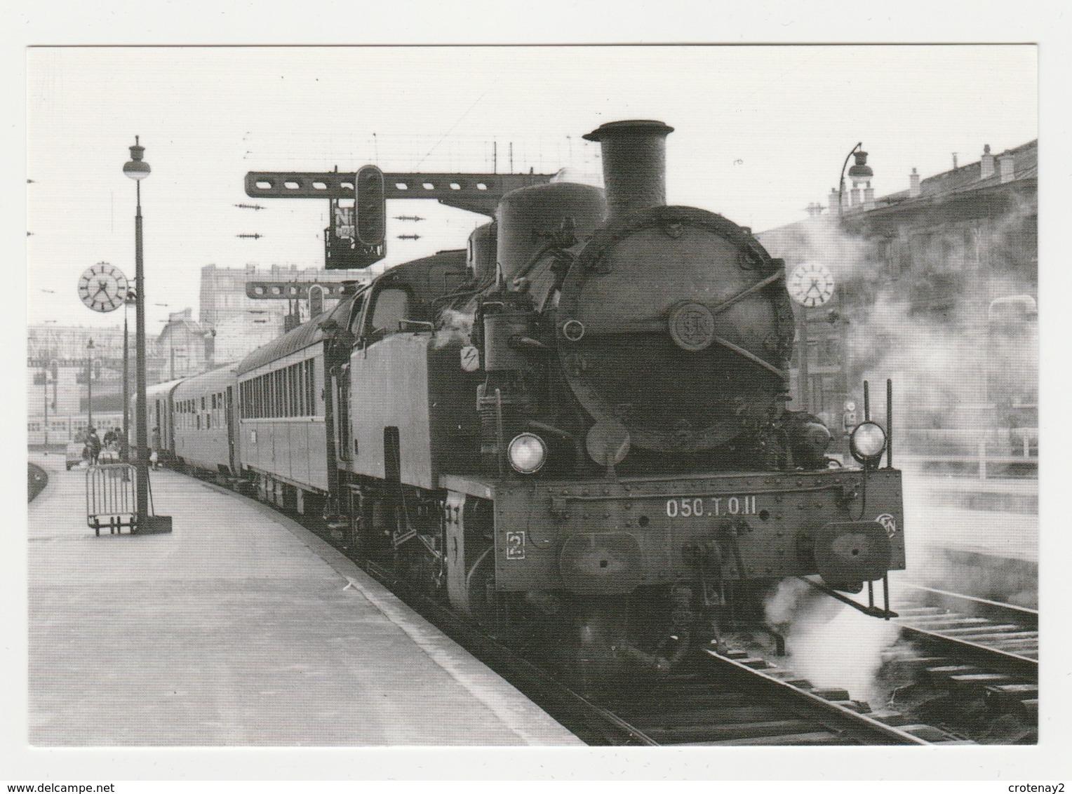 CPM VOIR DOS Train 75 Paris Gare Du Nord Locomotive Vapeur 050 TQ 11 Le 18/04/1964 Photo BAZIN - Public Transport (surface)