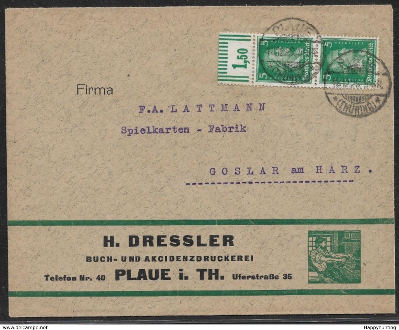 1929 Werbebrief MeF Mi.387W (2) Oberrandstück PLAUE N. GOSLAR Am HARZ - Deutschland
