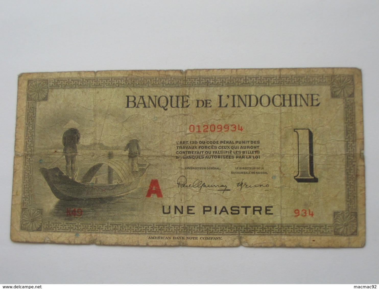 1 Piastre  - Banque De L'Indochine 1945   **** EN ACHAT IMMEDIAT **** - Indochine