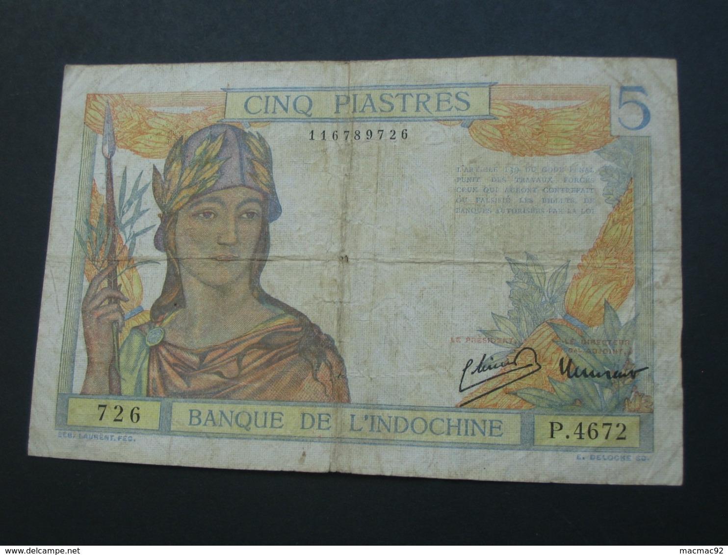 5 Cinq Piastre  - Banque De L'Indochine 1946   **** EN ACHAT IMMEDIAT **** - Indochine