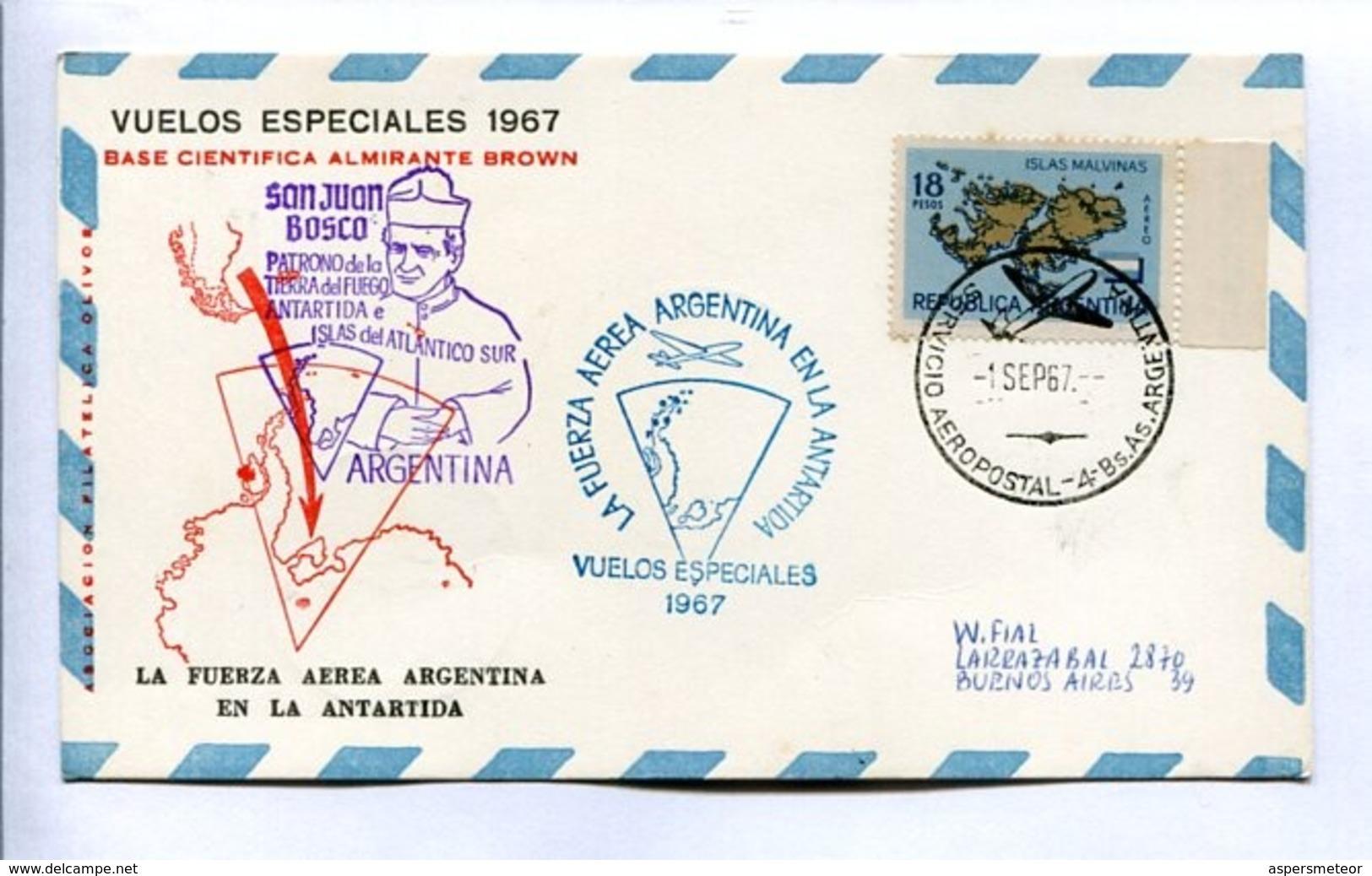 VUELOS ESPECIALES - BASE AEREA ALMIRANTE BROWN. FUERZA AEREA ARGENTINA EN LA ANTARTIDA. 1967 CARTE PAR AVION -LILHU - Vols Polaires