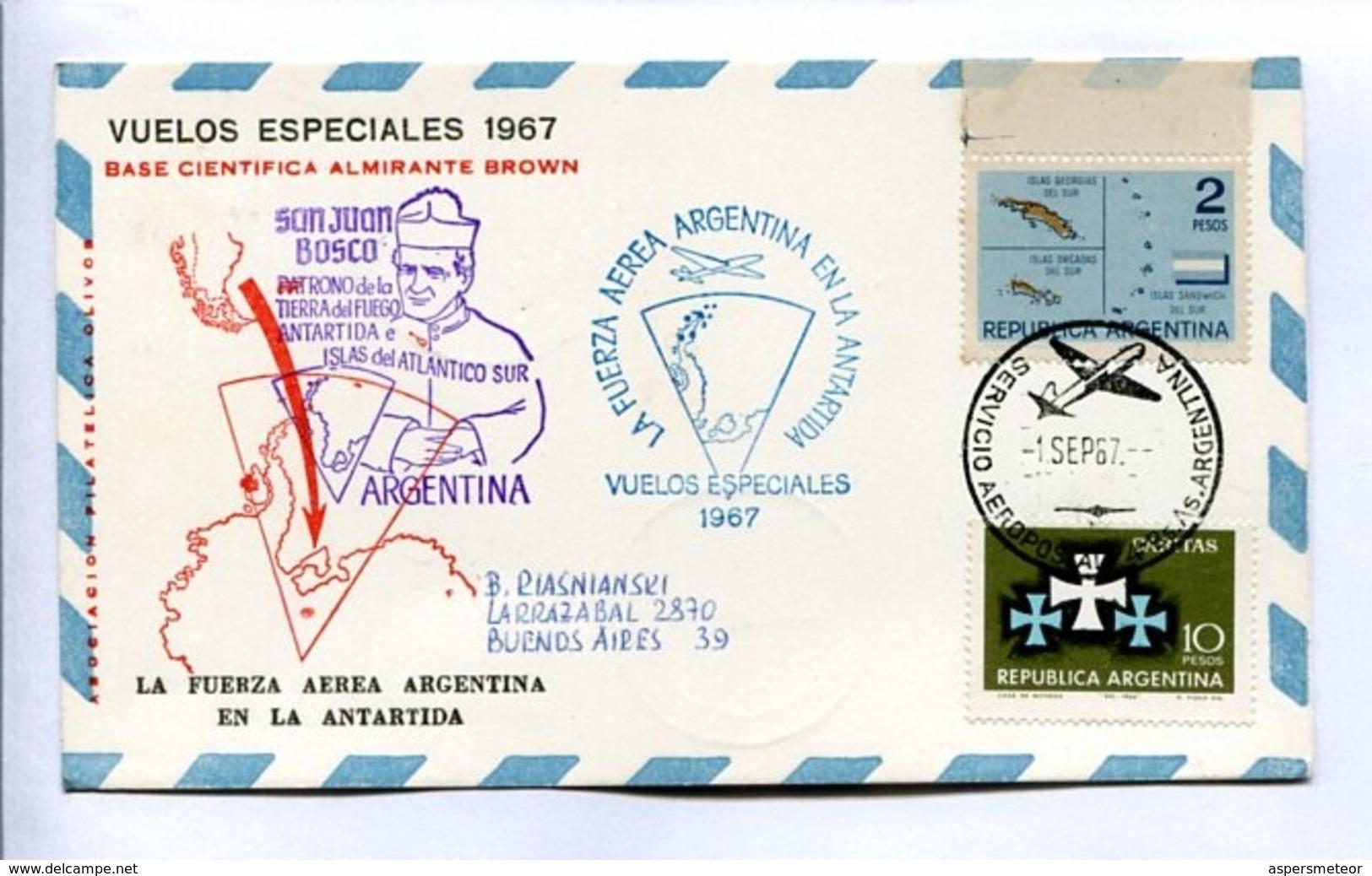 VUELOS ESPECIALES - BASE CIENTÍFICA ALMIRANTE BROWN. FUERZA AEREA ARGENTINA EN LA ANTARTIDA. 1967 CARTE PAR AVION -LILHU - Polar Flights