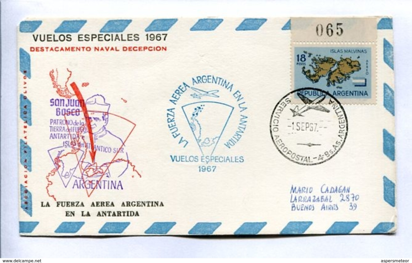 VUELOS ESPECIALES - DESTACAMENTO NAVAL DECEPCIÓN. FUERZA AEREA ARGENTINA EN LA ANTÁRTIDA. 1967 CARTE PAR AVION -LILHU - Polar Flights