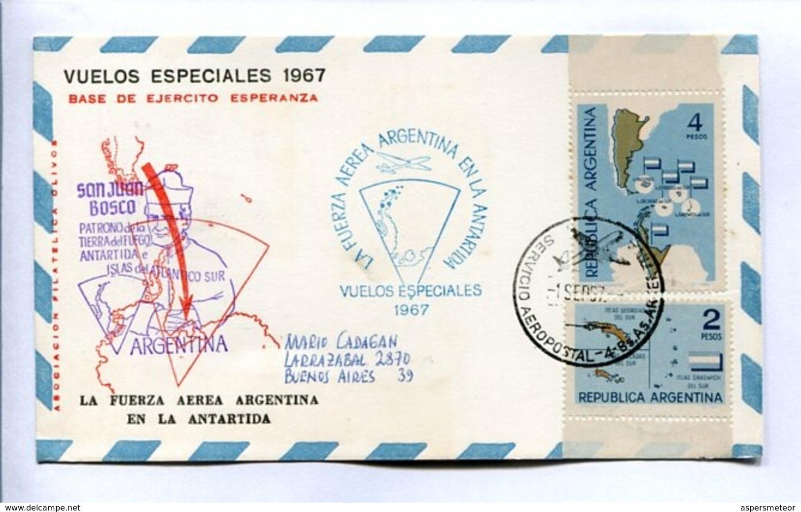 VUELOS ESPECIALES 1967 - BASE DE EJERCITO ESPERANZA. FUERZA AEREA ARGENTINA EN LA ANTÁRTIDA. CARTE PAR AVION -LILHU - Vols Polaires