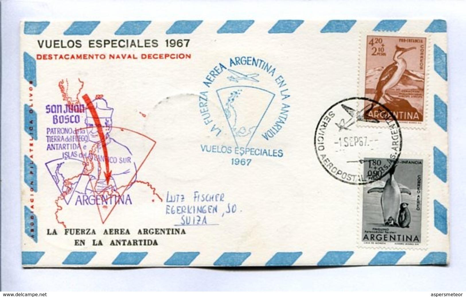 VUELOS ESPECIALES 1967 - DESTACAMENTO NAVAL DECEPCIÓN. FUERZA AEREA ARGENTINA EN LA ANTÁRTIDA. CARTE PAR AVION -LILHU - Poolvluchten
