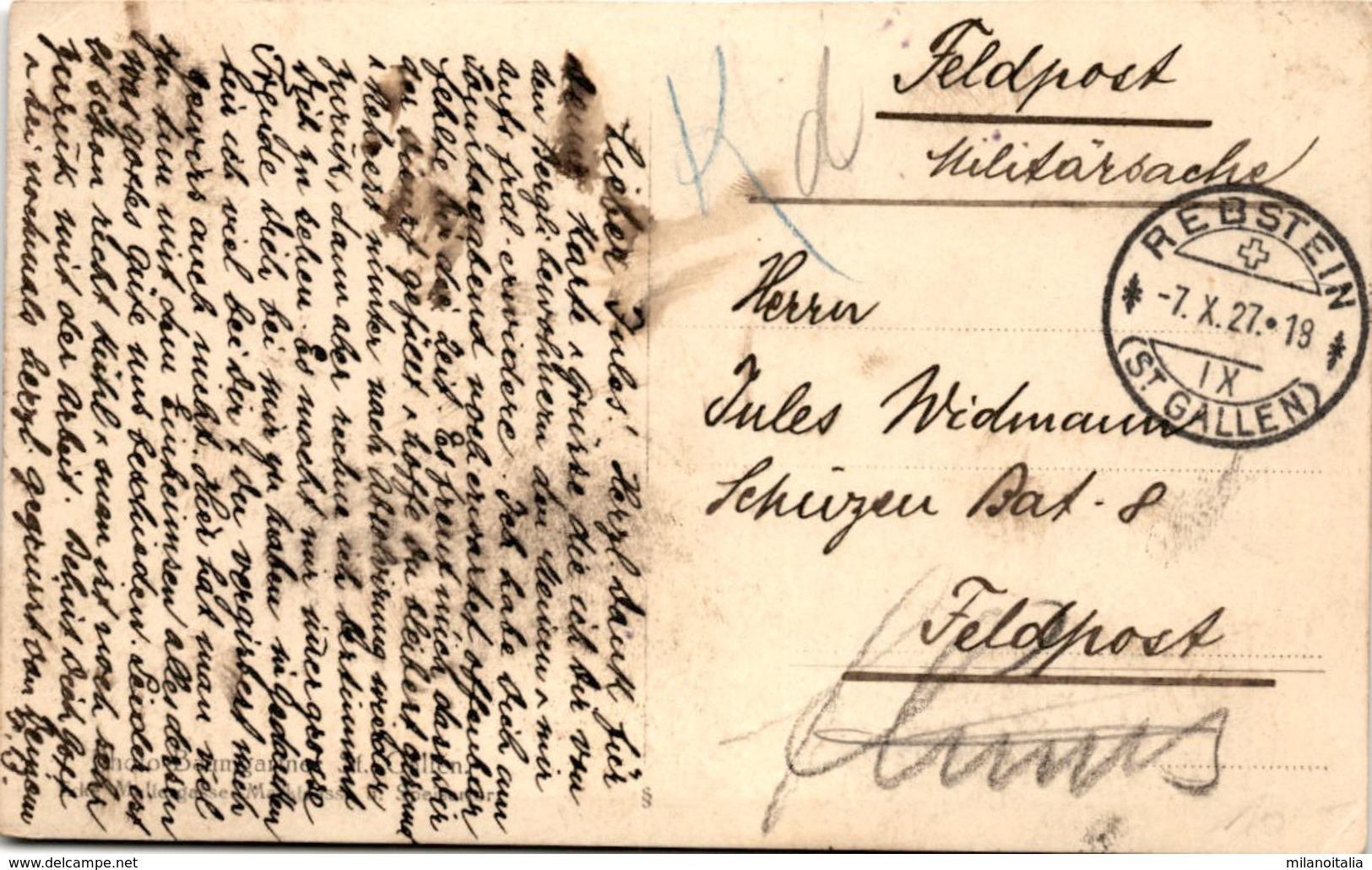 Kutsche * Poststempel Rebstein 7. 10. 1927 - SG St. Gallen