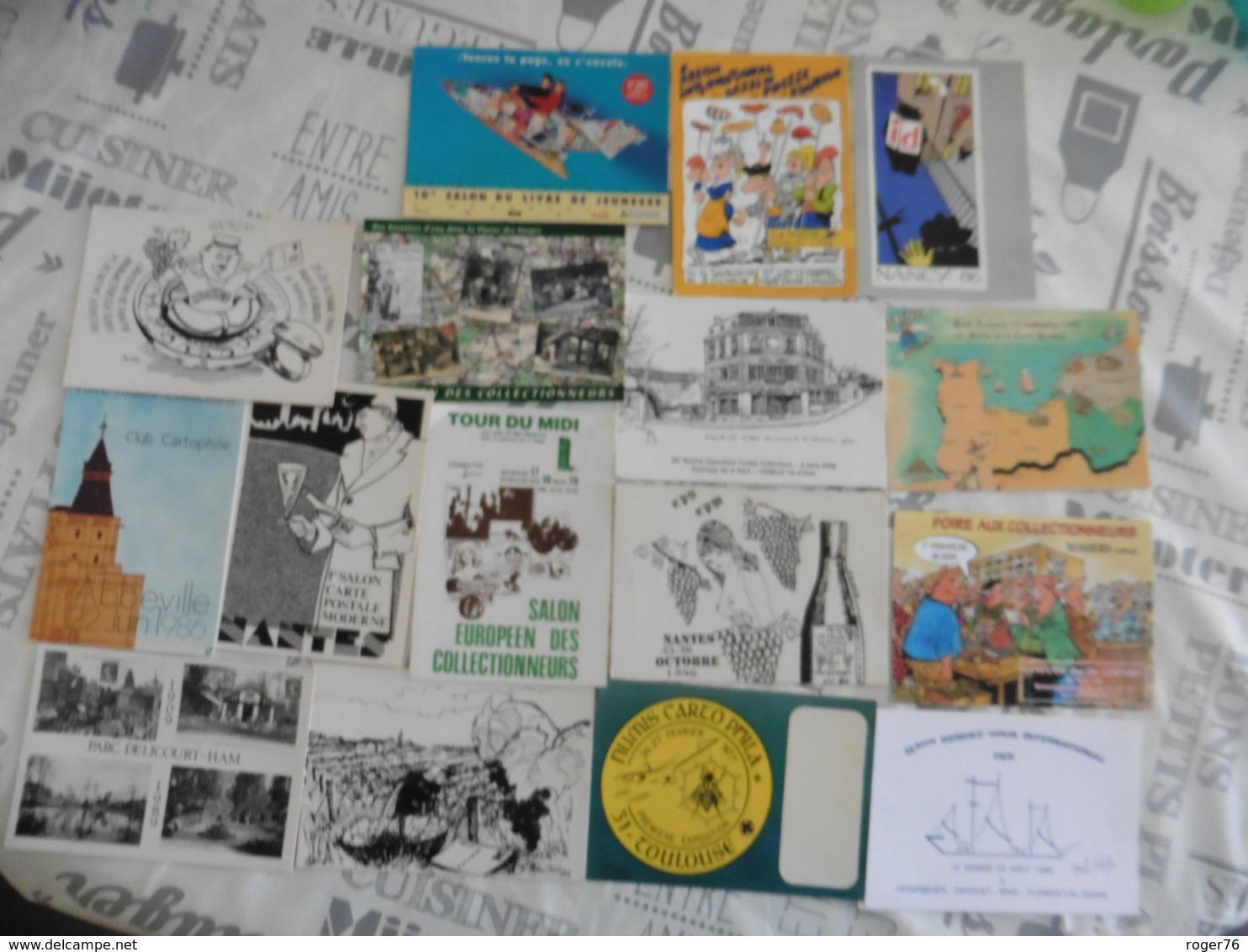LOT DE  16   CARTES  POSTALES   SUR  LES  SALONS  DE  COLLECTIONS - Cartes Postales