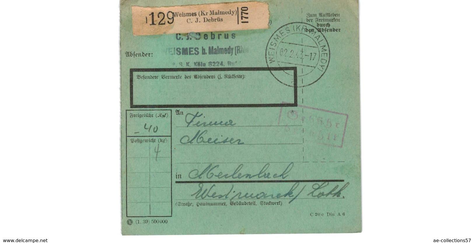 Allemagne  - Colis Postal  Départ Weismes ( Kr Malmedy  )  --02/2/1943 - Allemagne