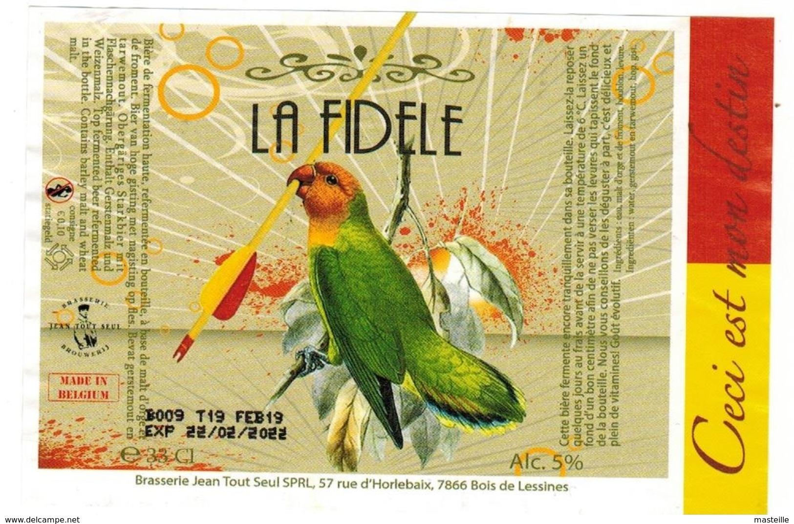 Etiquette Bière La Fidèle 33 Cl Brasserie Jean Tout Seul , Bois-de-Lessines Bier Etiket Ale Label - Bière