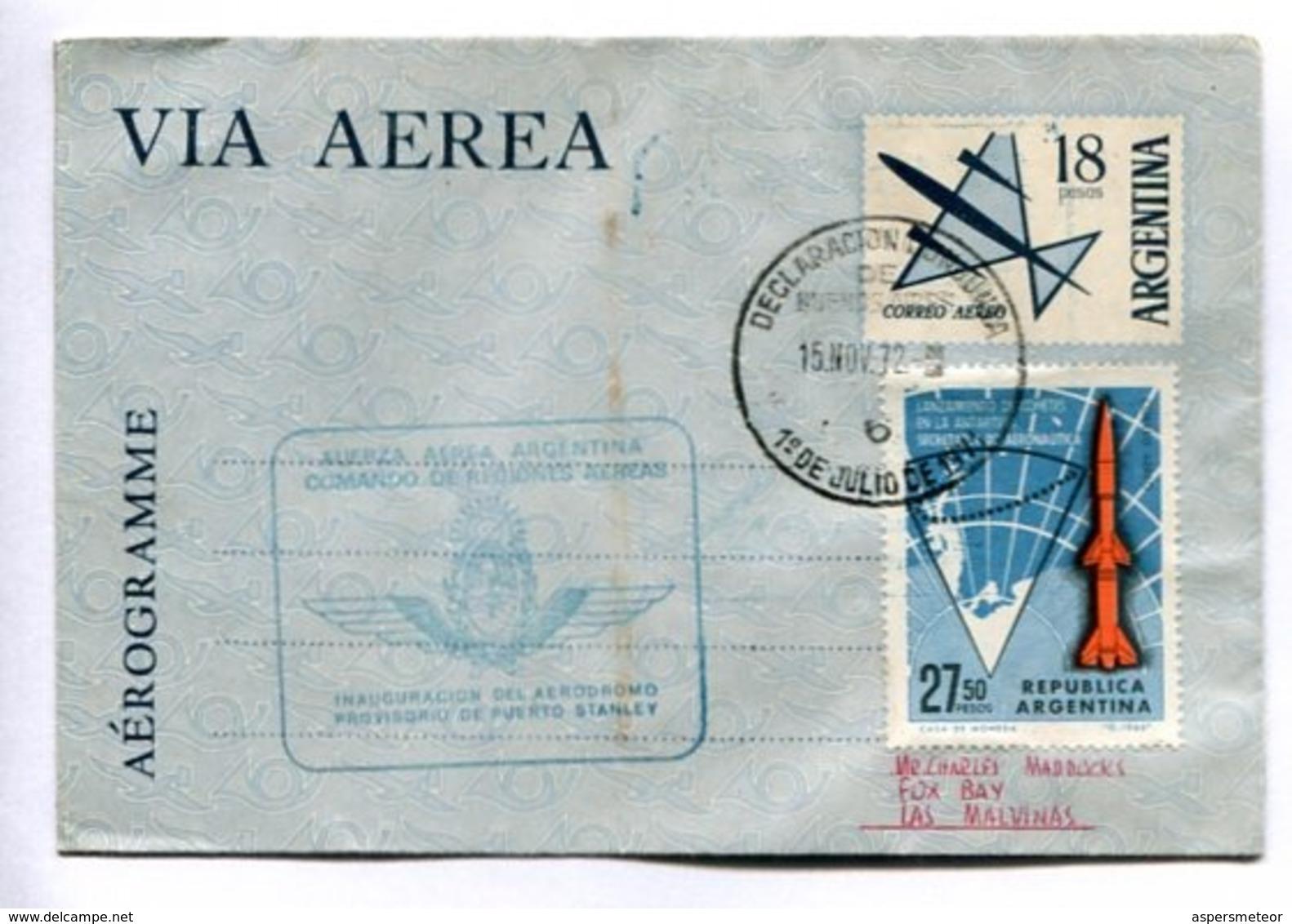 AEROGRAMME -  INAGURACION DEL AERÓDROMO PROVISORIO DE PUERTO STANLEY, AÑO 1972. ENVELOPE CIRCULATED -LILHU - Vols Polaires