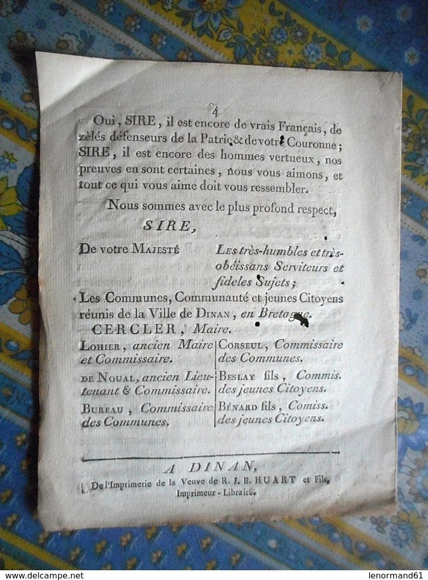 BROCHURE 4 PAGES SOUTIEN AU ROI LES COMMUNES COMMUNAUTE ET JEUNES CITOYENS DE LA VILLE DE DINAN BRETAGNE - Documents Historiques