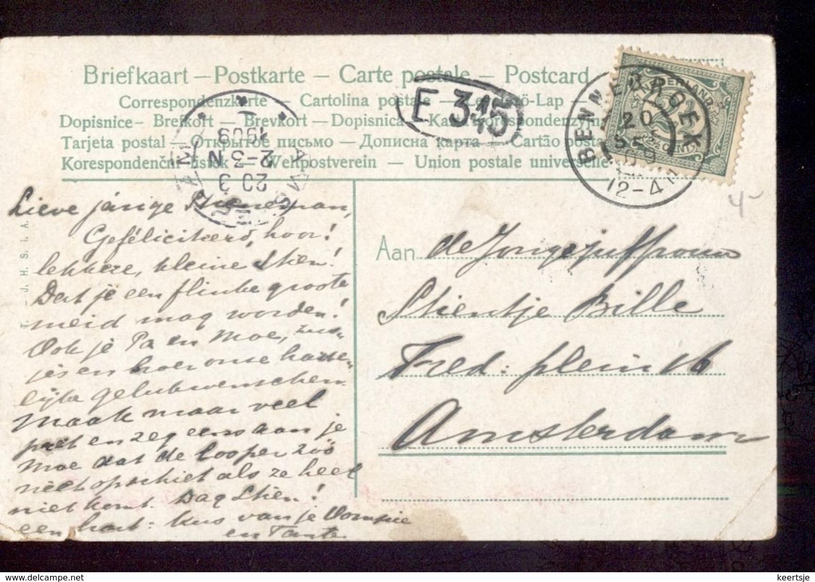 Bennebroek - Grootrond - 1909 - Poststempels/ Marcofilie