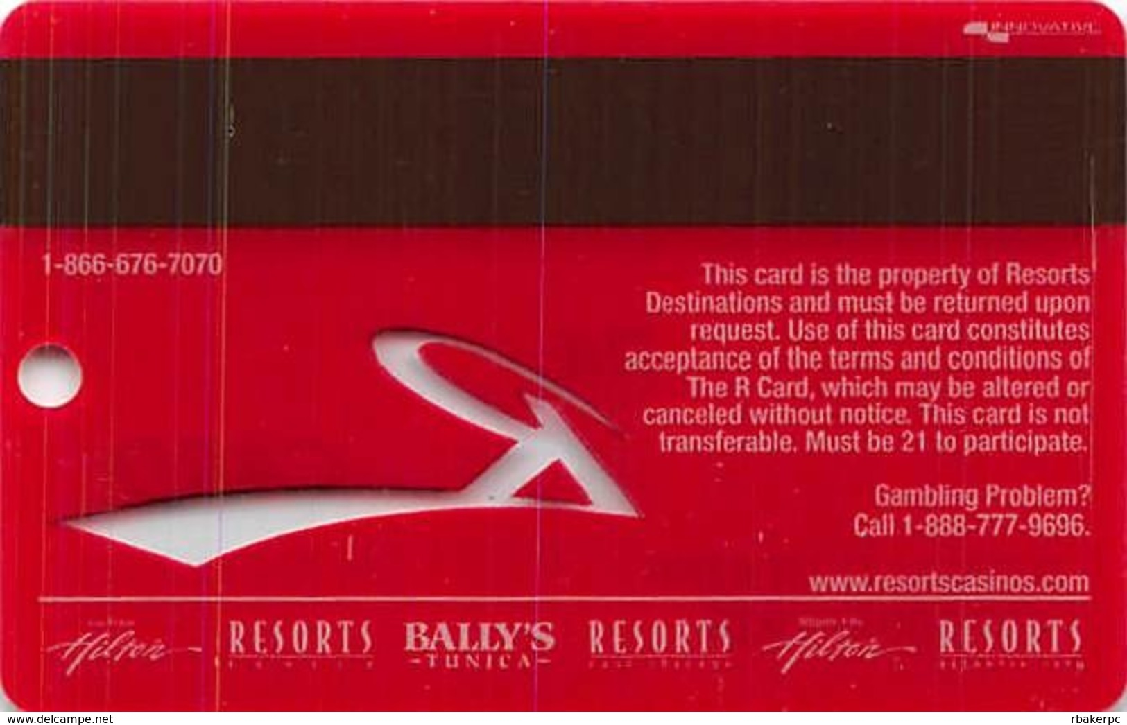 Resorts Casino - Tunica, MS - BLANK Slot Card - Clear 'R' - Shadow On Insert Arrow - Casino Cards