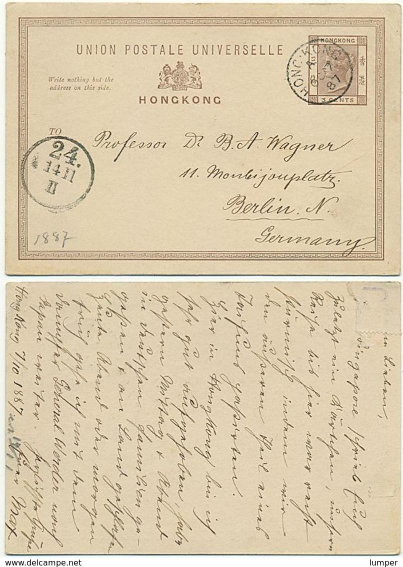 Hongkong Ganzsache 1887, Von Hong Kong Nach Berlin Gelaufen, 3 Cent - Hong Kong (...-1997)