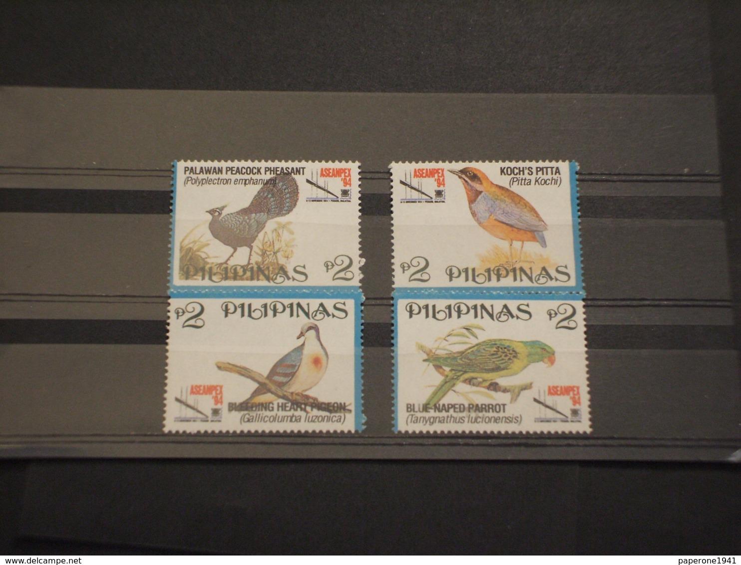 FILIPPINE - 1994 UCCELLI 4 VALORI -  NUOVI(++) - Filippine