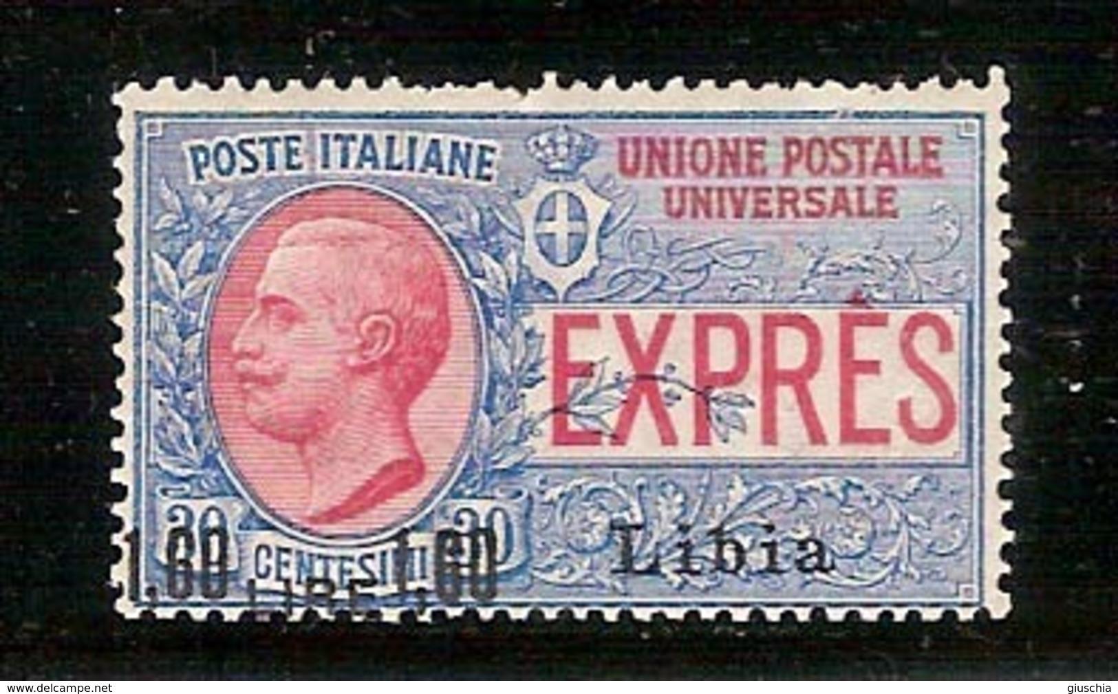 (Fb).Colonie.Libia. 1922.Espresso Soprastampato 1,60 Lire Su 30c**gomma Integra,firmato Chiavarello  (68-14) - Libia