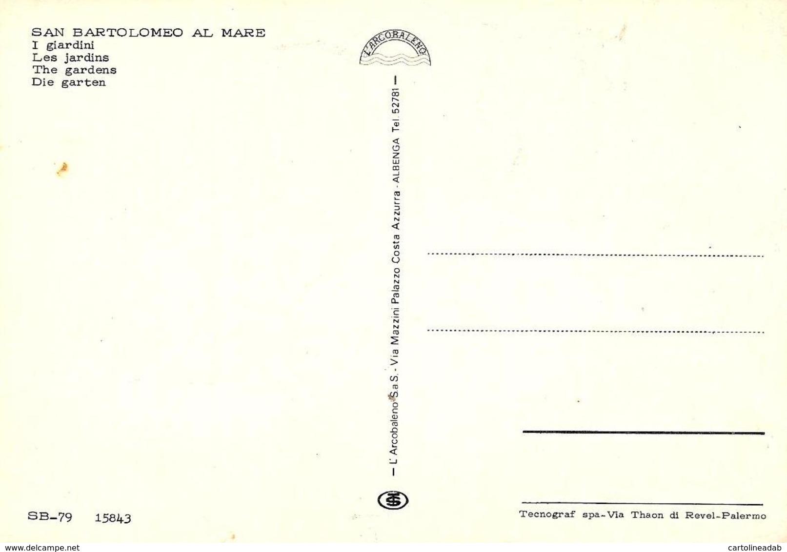 [MD3704] CPM - SAN BARTOLOMEO AL MARE (IMPERIA) - I GIARDINI - ANIMATA - Non Viaggiata - Altre Città
