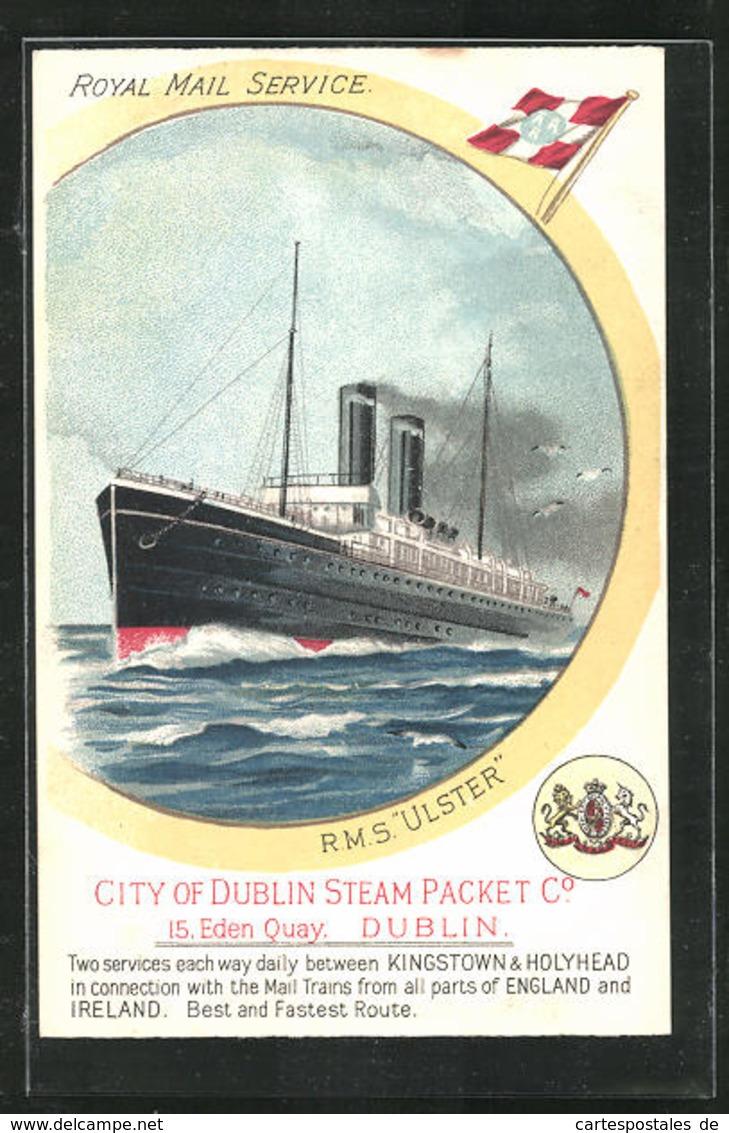Künstler-AK Passagierschiff RMS Ulster, City Of Dublin Steam Packet Co. - Paquebots