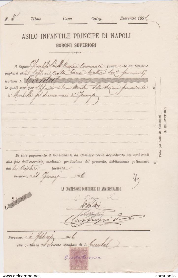 1896-documento Con Marca Da Bollo - Steuermarken