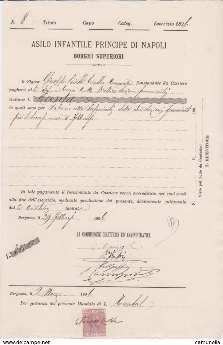 1896-documento Con Marca Da Bollo - 1878-00 Umberto I