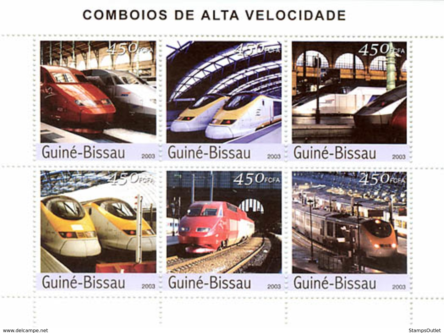 Guinea - Bissau 2003 - Modern Trains 6v. Y&T 1396-1401, Michel 2408-2413. - Guinea-Bissau