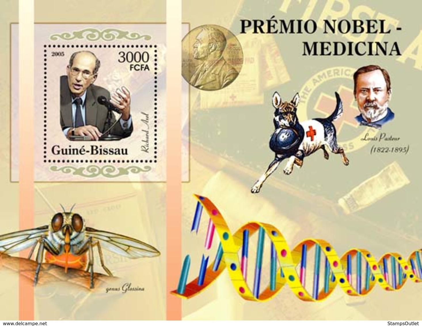 Guinea - Bissau 2005 - Nobel Prize Winners -Medicine-Richard Axel, L.Pasteur, Red Cross S/s, Y&T 275, Michel 3192/BL531 - Guinée-Bissau