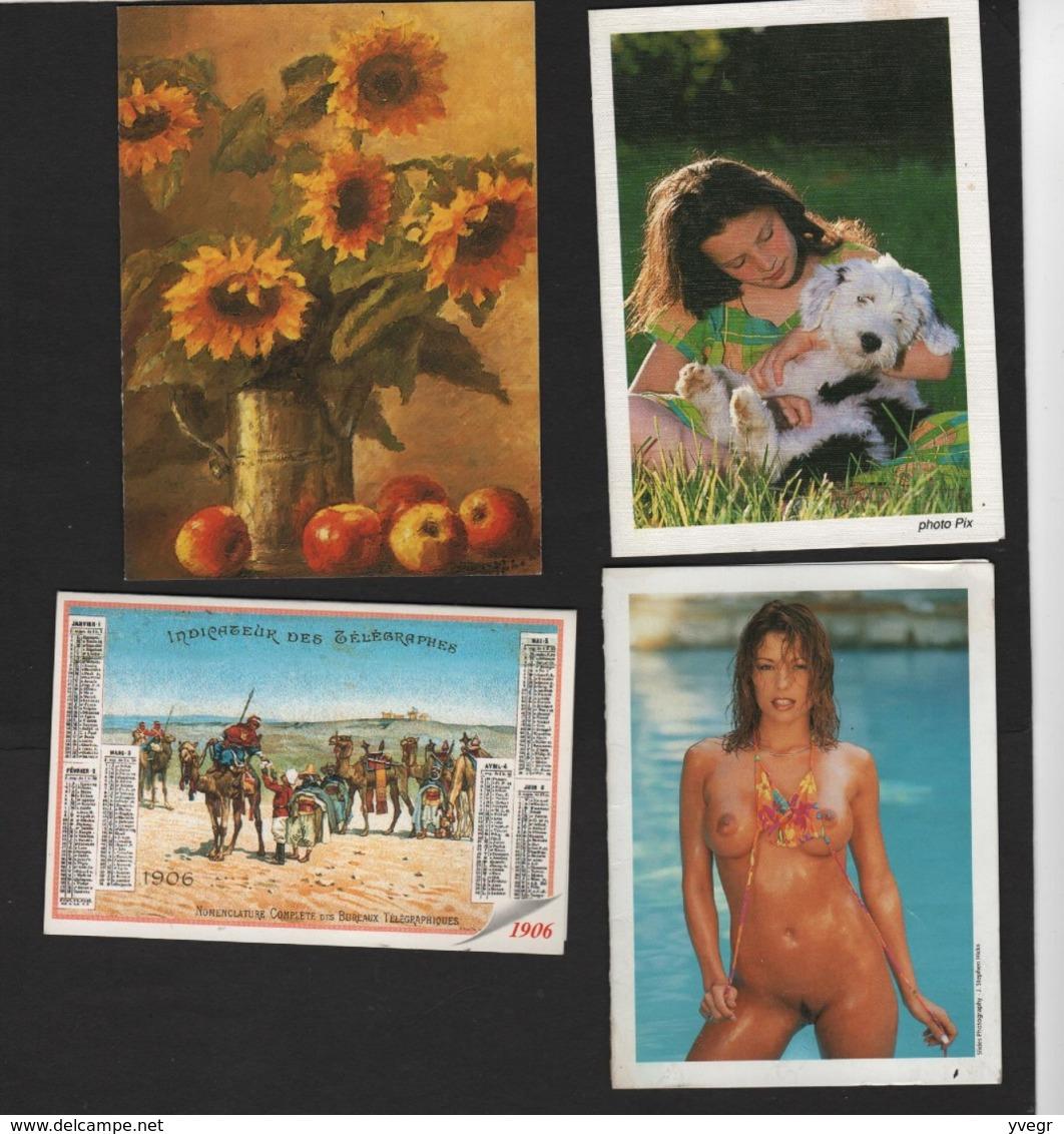 Lot De 4 Calendriers De Poche 1990 /2000 /2006 Avec Femme Nue ,fillette Avec Son Chien, Repro De 1906 , Fleurs Tournesol - Erotiques (…-1960)