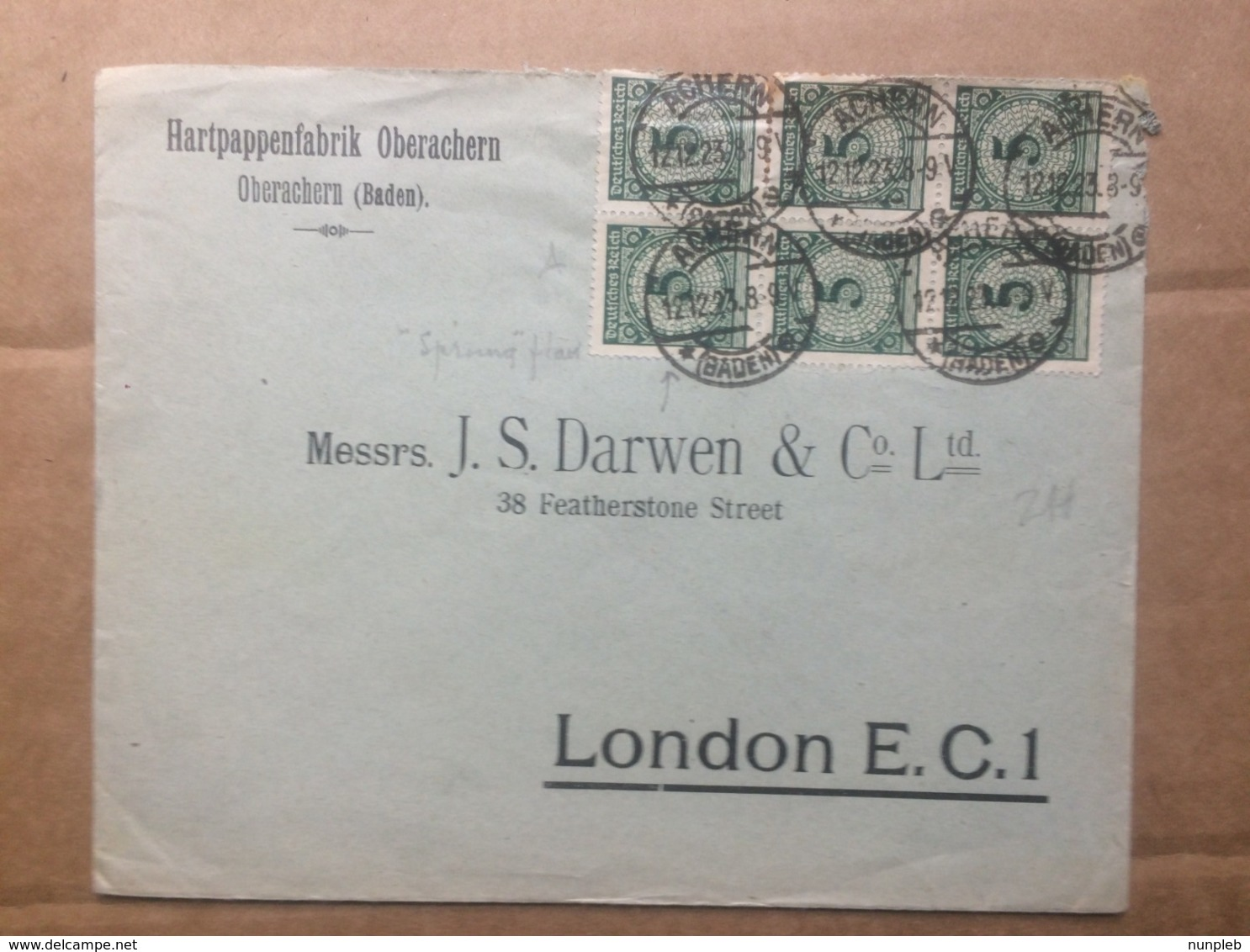 GERMANY 1923 Cover Achern To London Early Use Of Renten Pfennige Issue 17th Dec. - Allemagne