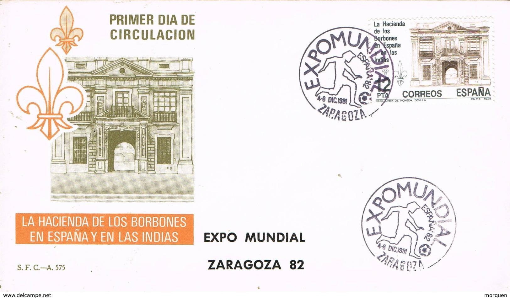 33844. Carta Exposicion ZARAGOZA 1982. FUTBOL, Expo Mundial 82. Hacienda De Borbones - 1931-Hoy: 2ª República - ... Juan Carlos I