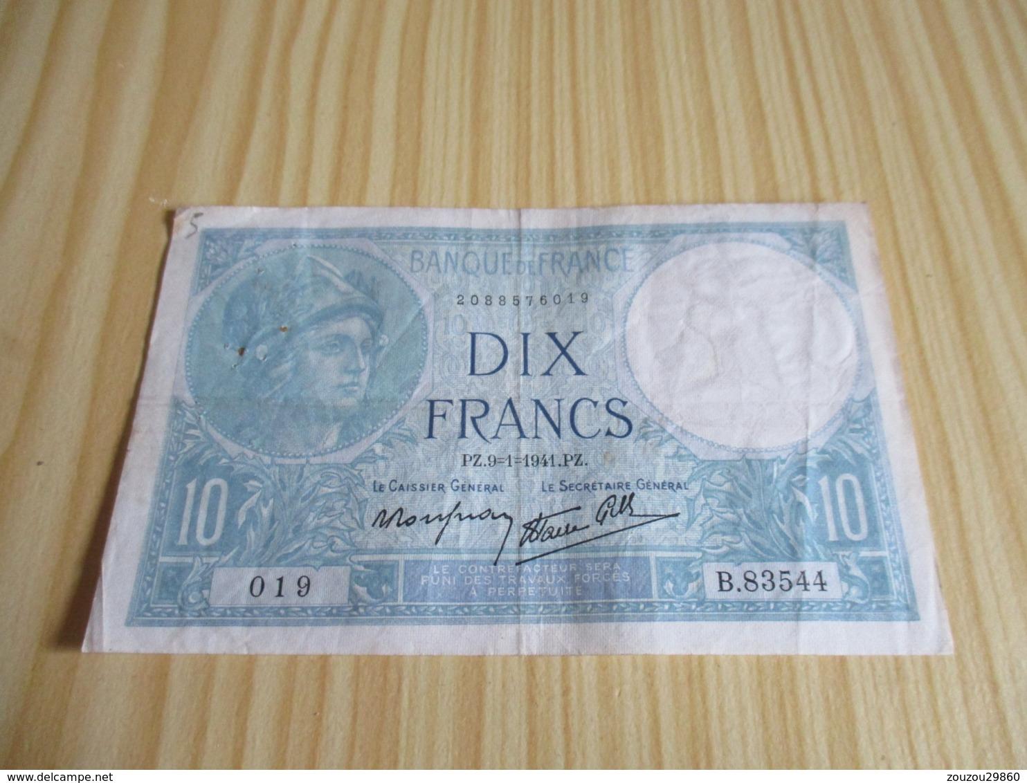 France.Billet 10 Francs Minerve 09/01/1941. - 1871-1952 Anciens Francs Circulés Au XXème