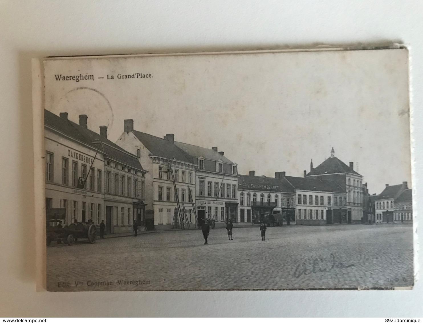 Waregem - Waereghem - La Grand Place  - Gelopen 1908 Ed. Coopman - Waregem