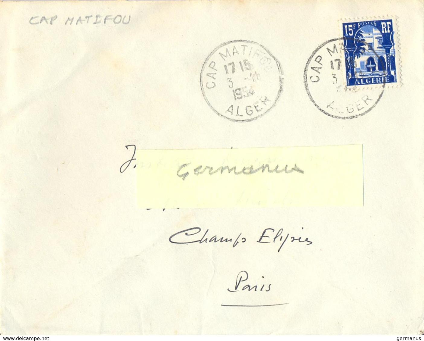 ALGERIE CAP MATIFOU ALGER TàD  3-11-1954 - Algerien (1924-1962)