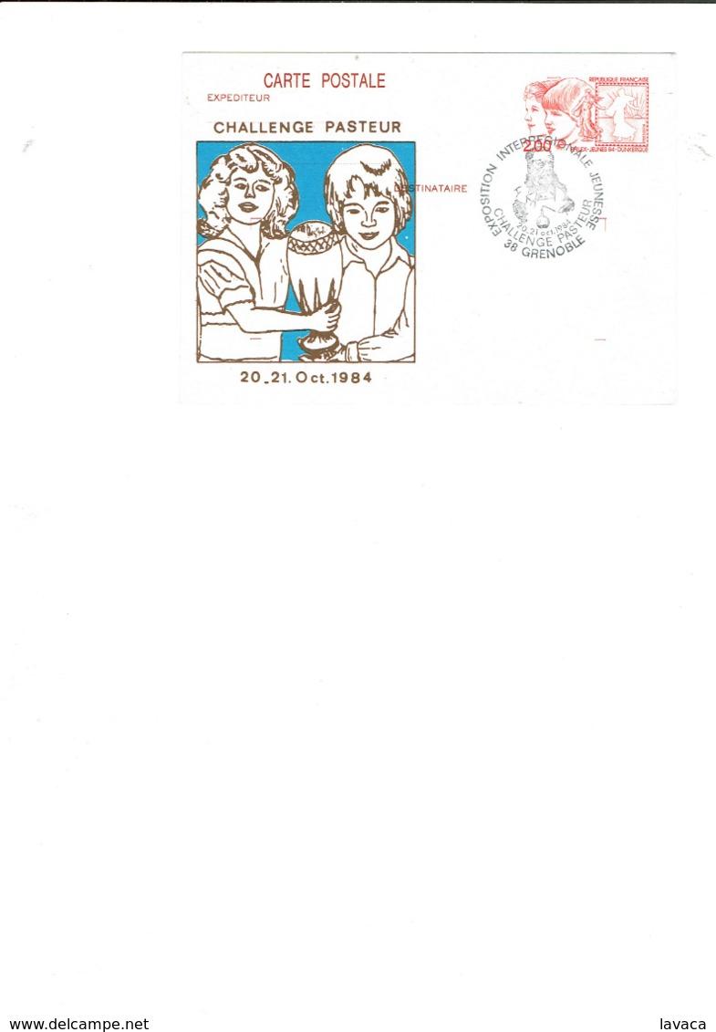 Cachet Temporaire Postal FRANCE / GRENOBLE Sur Carte Entier Postale - Exposition Interrégionale Jeunesse 20/21 Oct.84 - Louis Pasteur