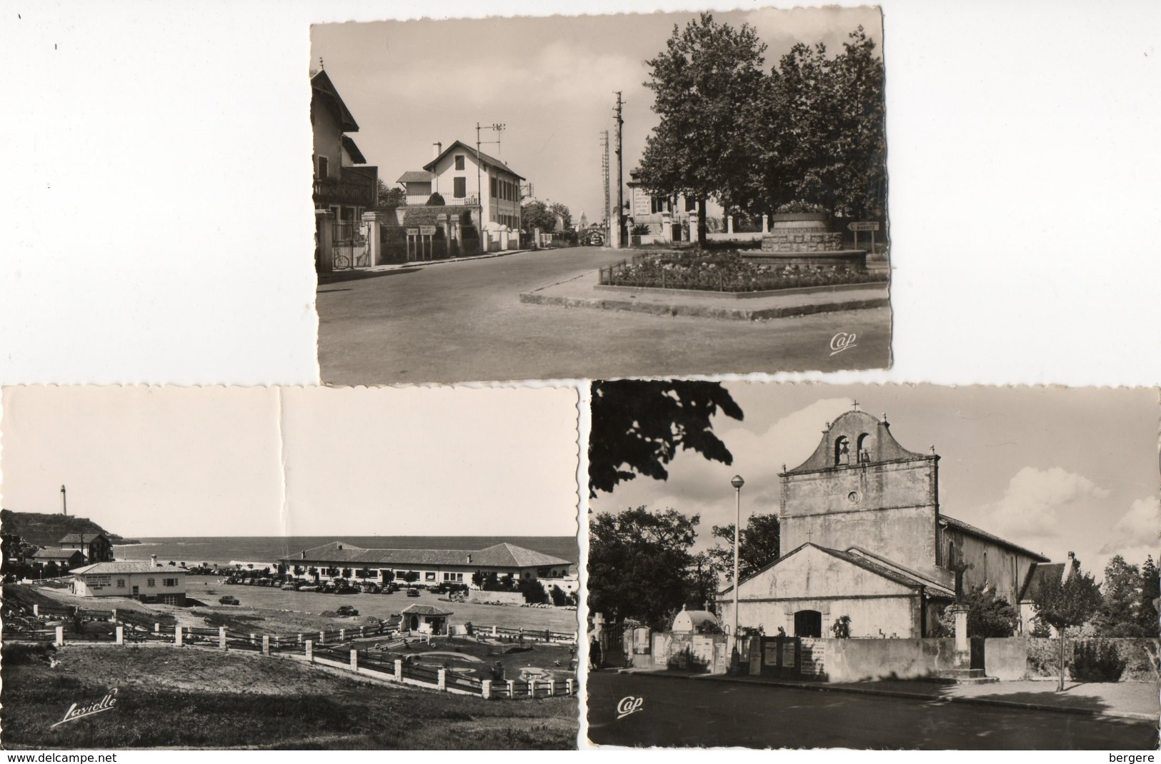 64. 3 CPSM. ANGLET.  église, Golf, Place. Scan Des Versos. - Anglet