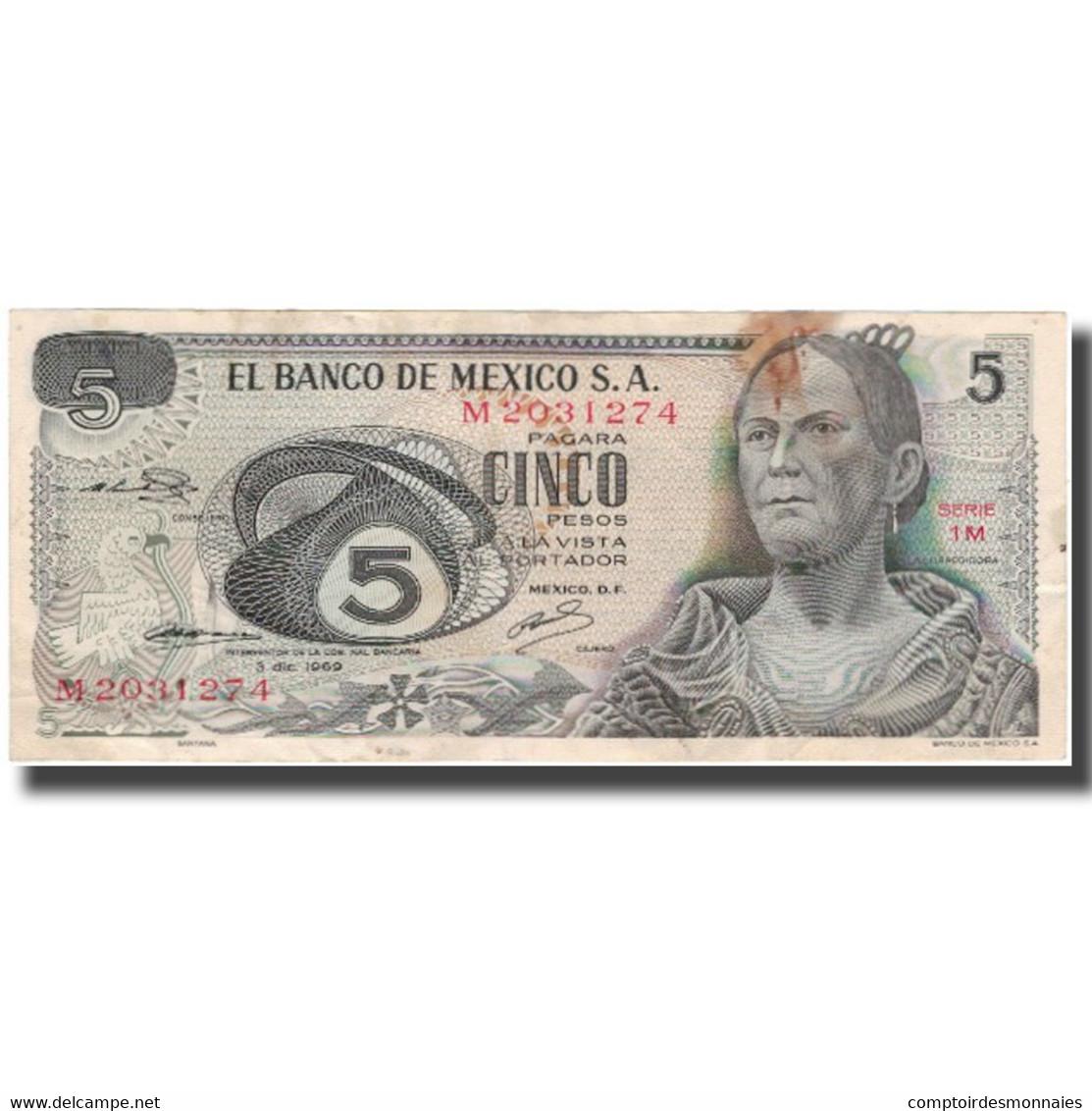 Billet, Mexique, 5 Pesos, 1969-12-03, KM:62a, TB - Mexico