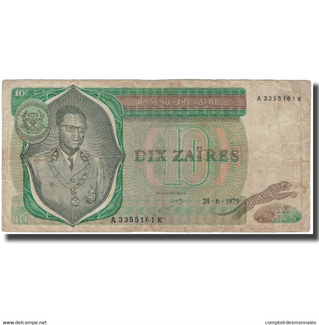 Billet, Zaïre, 10 Zaïres, 1979-06-24, KM:24a, B+ - Zaïre
