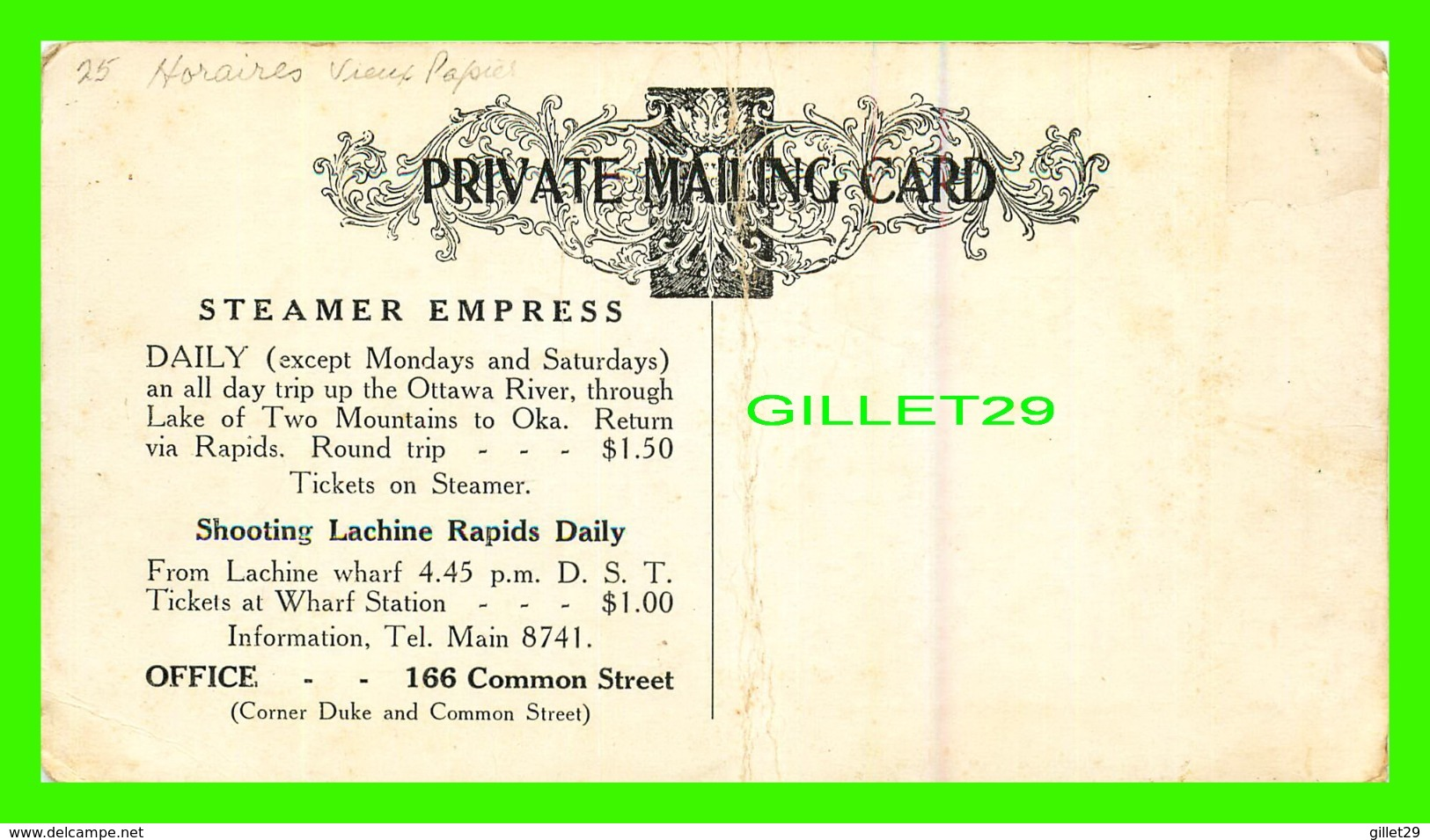 """TIME TABLE - STEAMER """" EMPRESS """" SHOOTING LACHINE RAPIDS, QUEBEC - PRIVATE MAILING CARD - - World"""